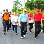 Gubri, Forkopinda, Plt Wako Pekanbaru ikuti Gerak Jalan Santai Integritas